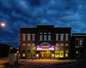 2016 Preservation at its Best, Small Commercial: State Theatre, Washington, Iowa.  Exterior nighttime view