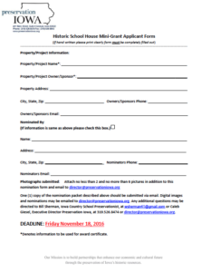 Click here do DOWNLOAD the mini grant application form. See below for application instructions.