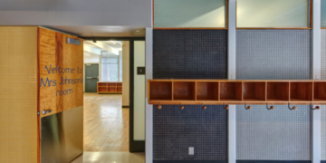 """Midcentury classroom entryway, """"Welcome to Mrs. Johnson's Class"""