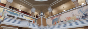 Lit dome and main atrium at the Prairie Style Woodbury County Courthouse