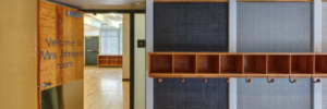 "Midcentury classroom entryway, ""Welcome to Mrs. Johnson's Class"